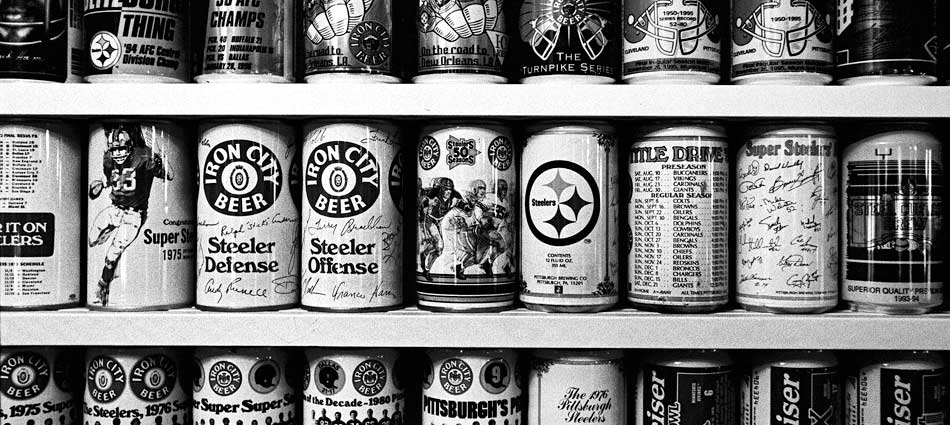 ed Gouza's collection of beer cans. Clinton, PA 2004.