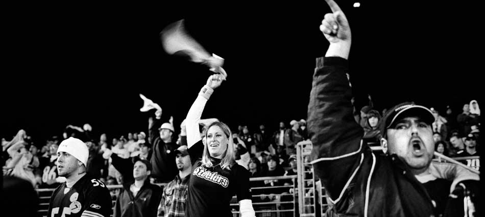 Steelers fans cheer as Ben Roethlisberger leads a late 4th quarter drive. Alltel Stadium, Jacksonville, Florida 2004.