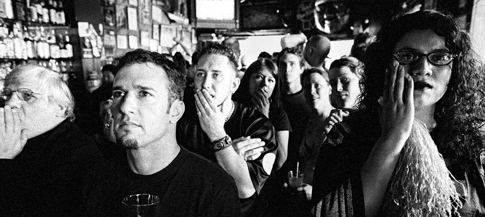 Fans at Shanghai Kelly's Saloon gasp in disbelief as Baltimore Ravens kicker Matt Stover wins in overtime. San Francisco, CA 2005.